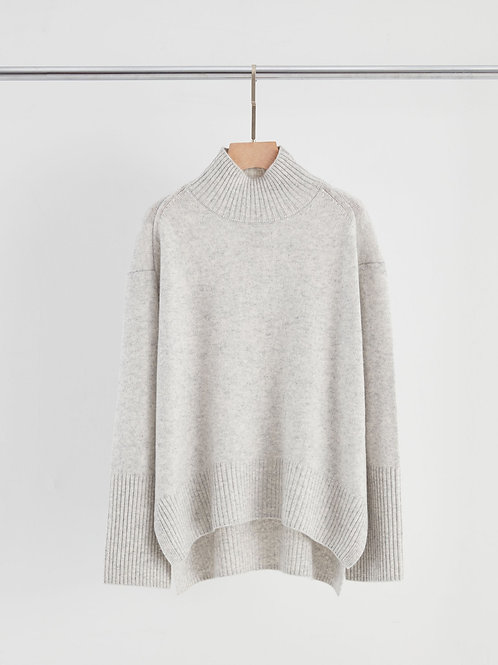 Cashmere Blend Chunky Polo Neck Sweater - Grey