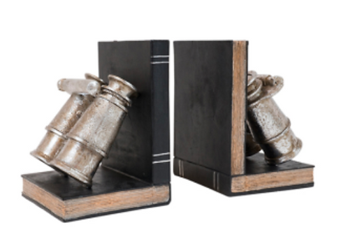 Fairchild Resin Silver Binoculars Book Ends