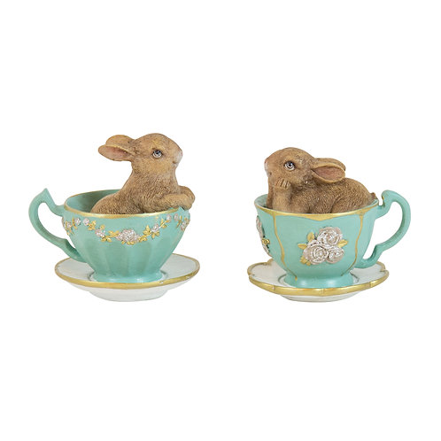Potter Resin Bunnys in Green Teacup 2 ass (sold separately)