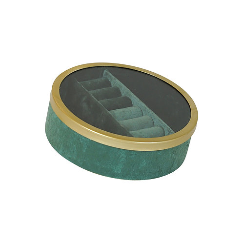 Tessa Green Velvet Round Jewel Box Small