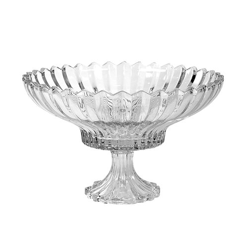 Farthing Cut Glass Ribbed Pedestal Bowl
