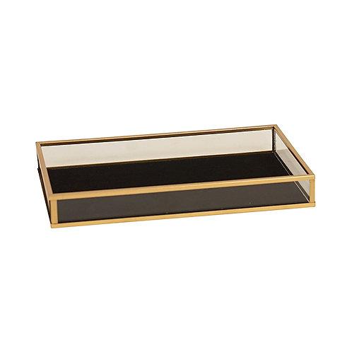 Armen Gold Black Glass Rectangular Tray - Large