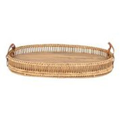 Forrest Acacia Leather Handle Tray Oval