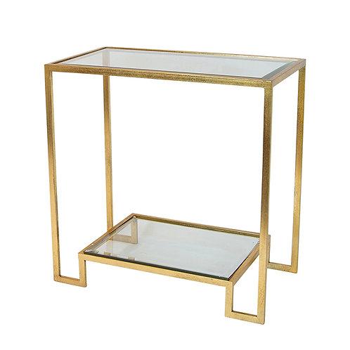Beesen Gold Iron & Glass Shelf Console