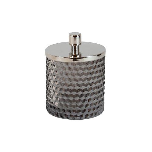 Nina Black & Glass Silver Lidded Jar