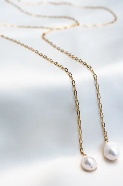 Gold Tie Chain with 11-12mm Pearl
