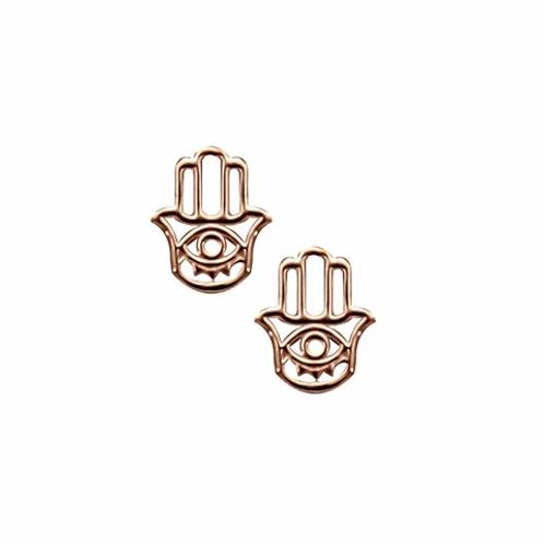 Rose Gold Hamsa Stud Earrings