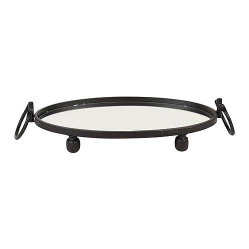Blair Iron Black Mirror Tray - Oval