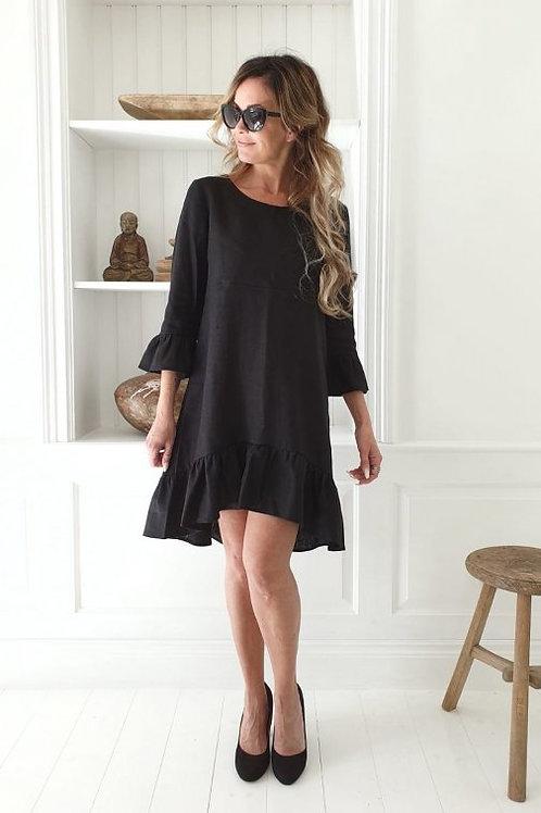 Juliet Linen Dress - Black