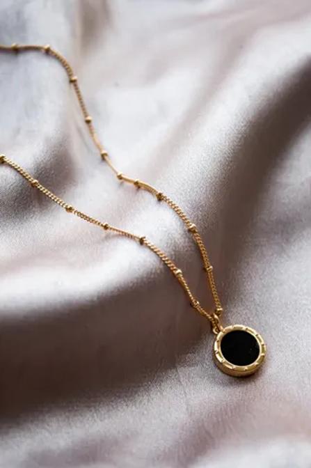 Gold - Black Onyx Pendant Necklace