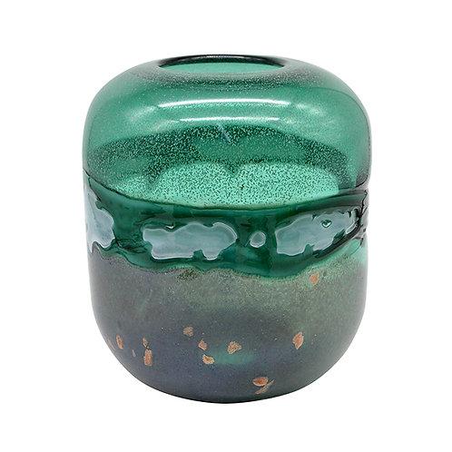 Verge Glass Emerald White Bullet Vase - Large