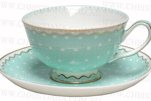 Cup & Saucer - Polka Green