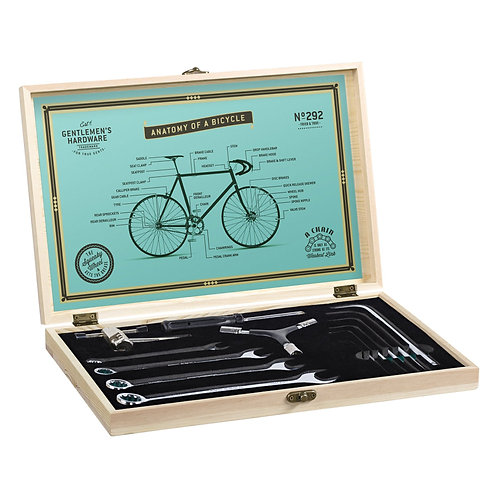 Bicycle Tool Kit with Wooden Box