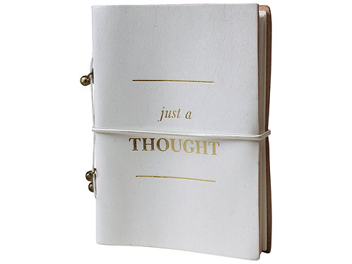 Leather Notebook White - Just A Thought (Small)