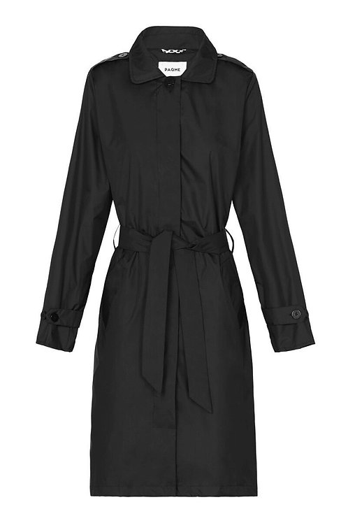 Womens Trench Recycled Raincoat - Black