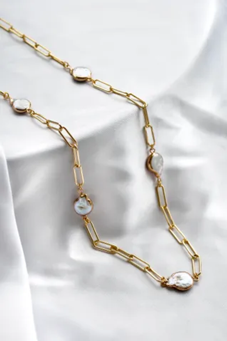 Gold Chain with Coin Pearls