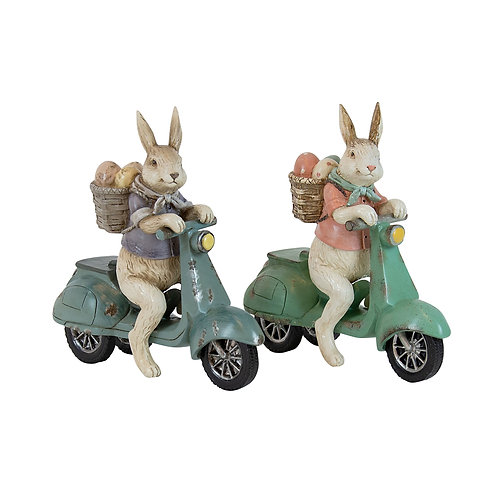 Potter Resin Pastel Bunnys on Moped - 2 assorted (sold separately)