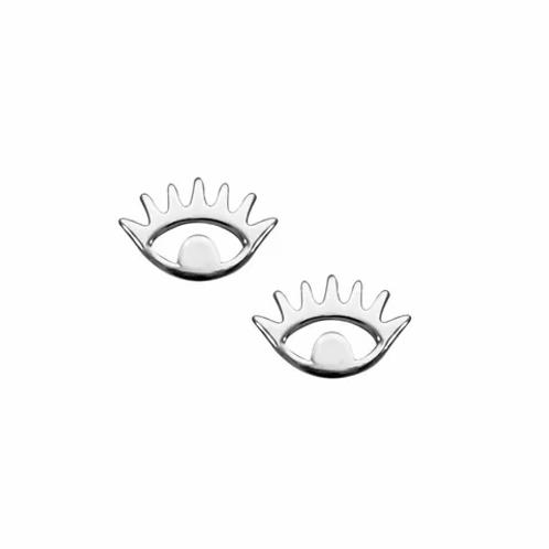 Silver Evil Eye Stud Earrings