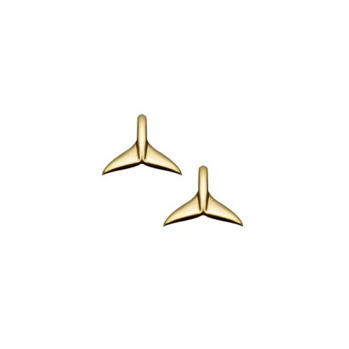 Yellow Gold Whale Tail Stud Earrings