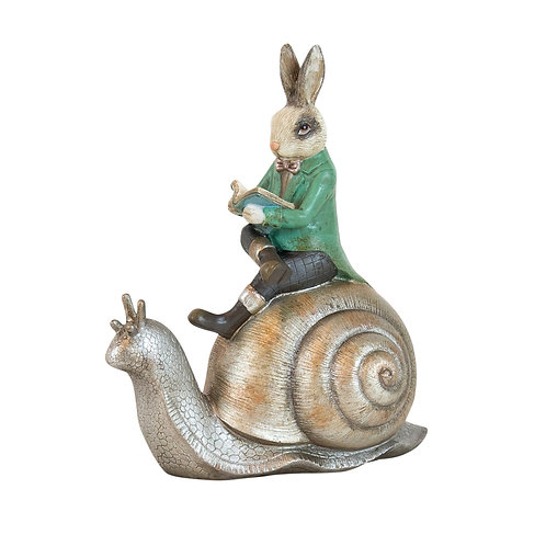 Potter Resin Green Coat Bunny on Snail