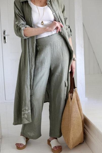 Mama Linen Pants - Olive