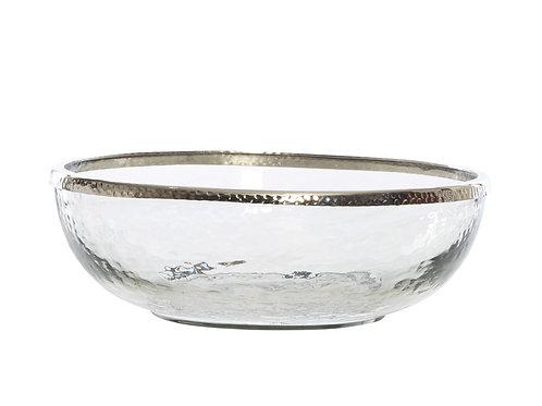 Amberley Glass & Nickel Bowl