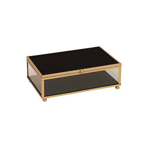 Armen Gold Black Glass Jewel Box - Medium