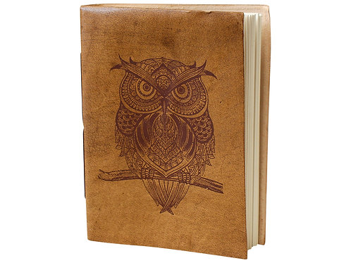 Leather Notebook - Owl