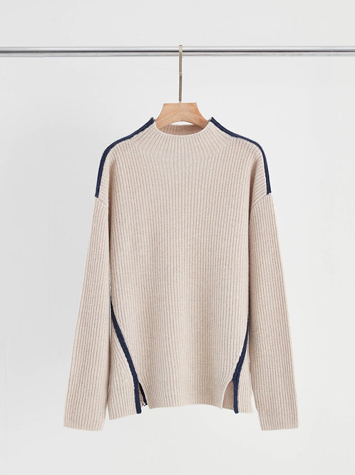 Cashmere-Wool Ribbed Contrast Detail Oversized Sweater