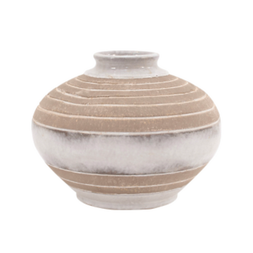 Pearl Cream Fawn Barrell Vase - Small