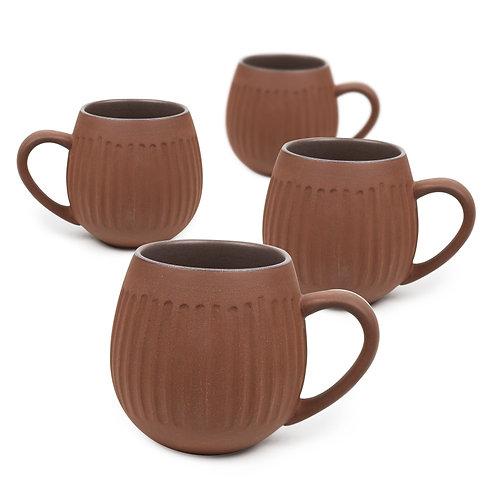 Dark Clay Hug Me Tribe Mugs - 4 Pack