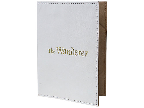 Leather Passport Cover White -The Wanderer