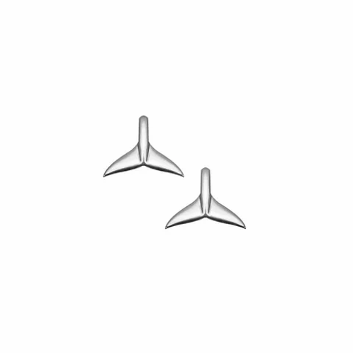 Silver Whale Tail Stud Earrings
