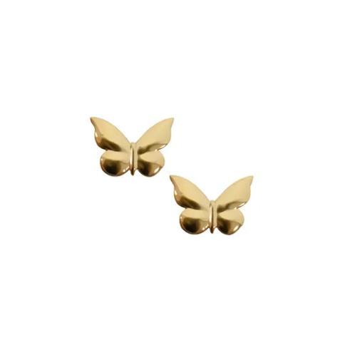 Yellow Gold Butterfly Stud Earrings