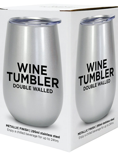 Wine Tumbler Stainless Steel - Silver