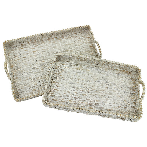 S/2 Rectangle Tray with Beads White