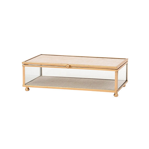 Jordan Gold Edge Linen Rectangular Jewel Box - Small