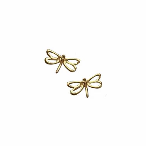 Yellow Gold Open Dragonfly Stud Earrings
