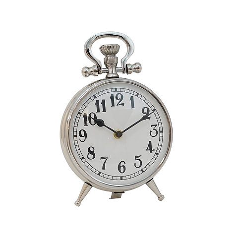 Grimes Metal Silver Round Clock on Feet