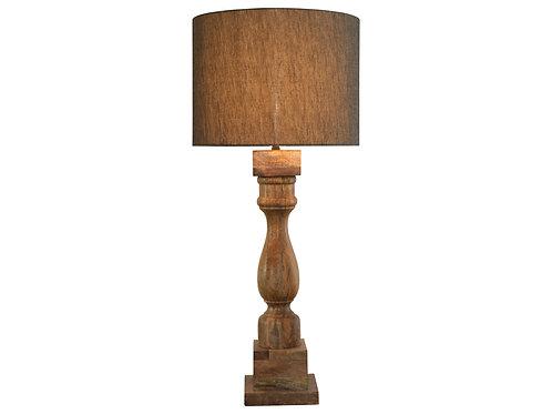 Natural Wood Lamp with Grey Linen Shade