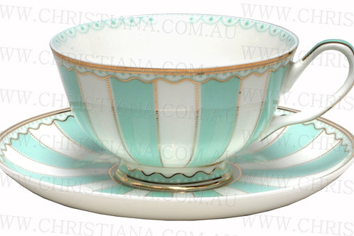 Cup & Saucer Stripe Green