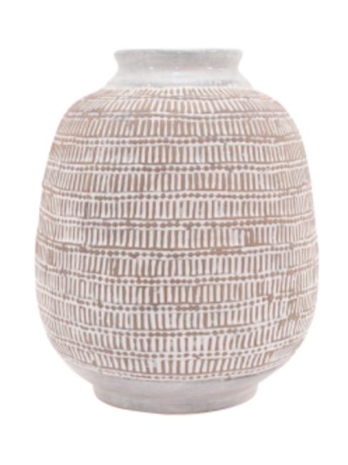 Pearl Cream Fawn Barrell Vase - Medium