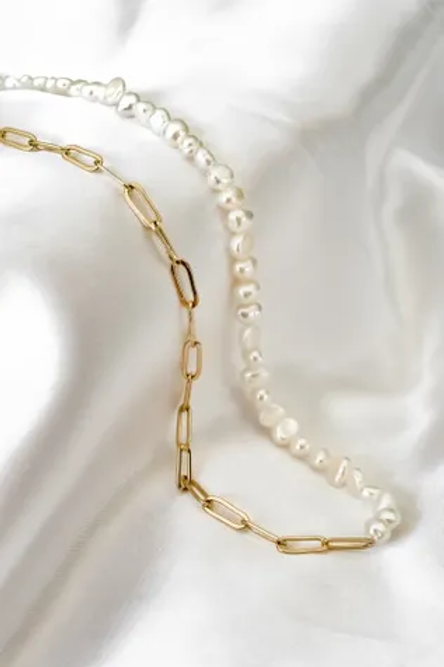 Gold Link Chain & 5mm Pearl Necklace