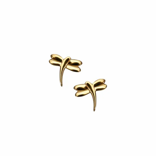 Yellow Gold Dragonfly Stud Earrings