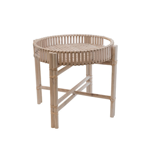 Newhaven Timber Rattan Fold Away Table Large