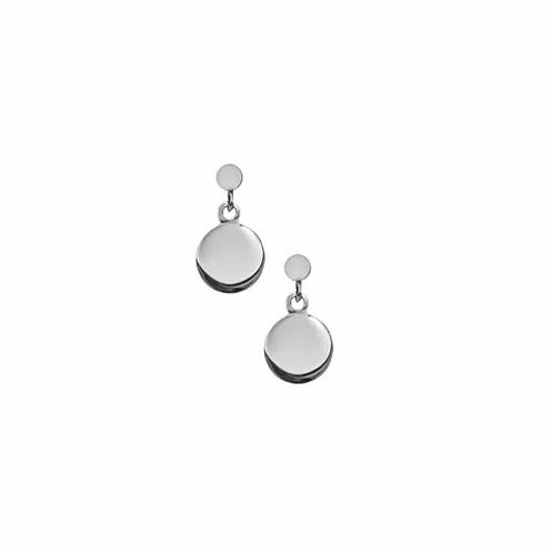 Silver Flat Drop Stud Earrings