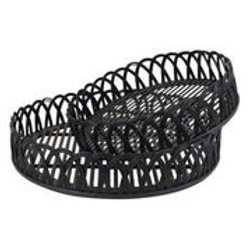 Bamboo Rattan Black Round Tray Small
