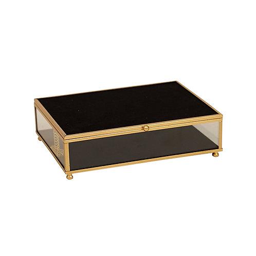 Armen Gold Black Glass Jewel Box - Large
