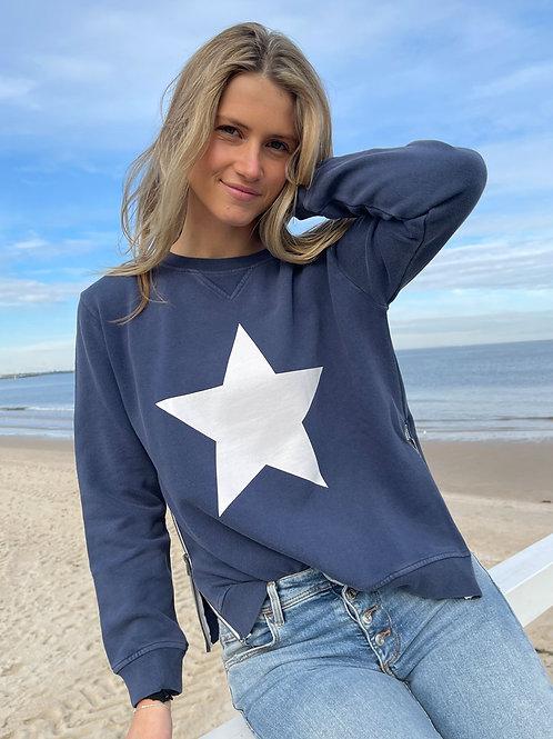 Zip Sweatshirt – Navy & White Star