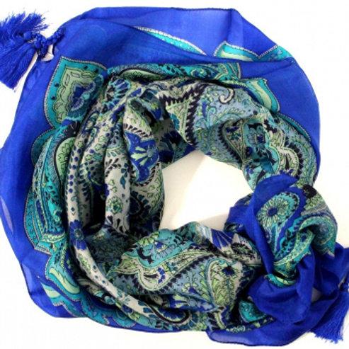 Bleu Fonce Paisley Silk Tassle